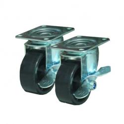 Hjul med Bremse, set af 4 stk