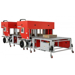 STEP TP-702CQ3-T Corrugated Tandem Strapper, Squaring & Back stop machine