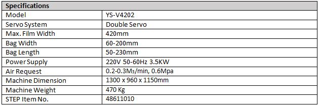 STEP VFFS V420.2 Specs