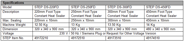 STEP Foot Type Constant Heat Sealers specs
