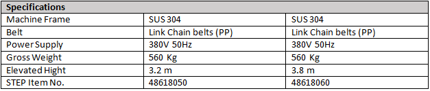 STEP L-Shaped Conveyor Specs