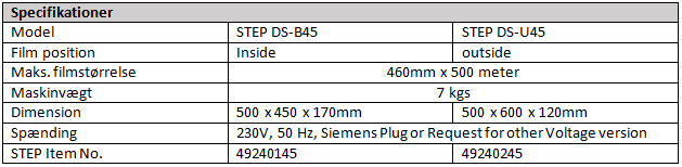 STEP-DS-U45 DK specs